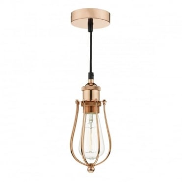 TAURUS - 1 Light Pendant Cage Bright Copper