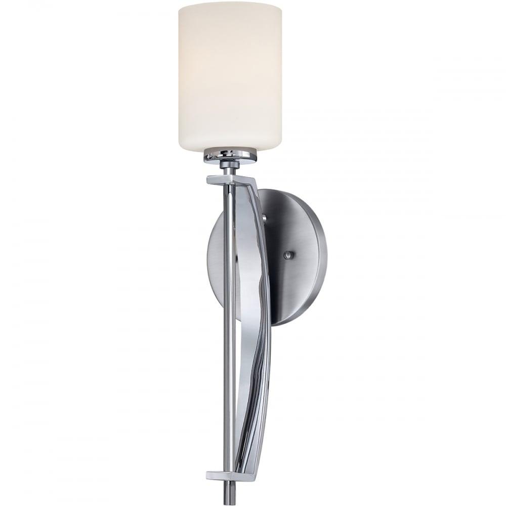 TAYLOR Large LED Bathroom Wall Light Polished Chrome Opal Glass Shade