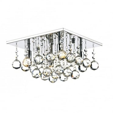 ABACUS - 4 Light Flush Ceiling Fitting Low Ceiling Light Chrome