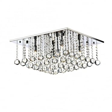 ABACUS - 5 Light Flush Ceiling Fitting Low Ceiling Light Chrome