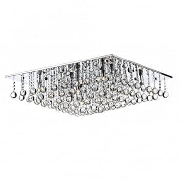 ABACUS - 8 Light Flush Ceiling Fitting Low Ceiling Light Chrome