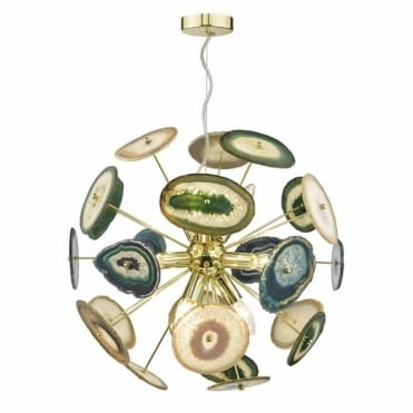 ACHATES - Eye Catching Statement 9 Light Gold Agate Ceiling Pendant