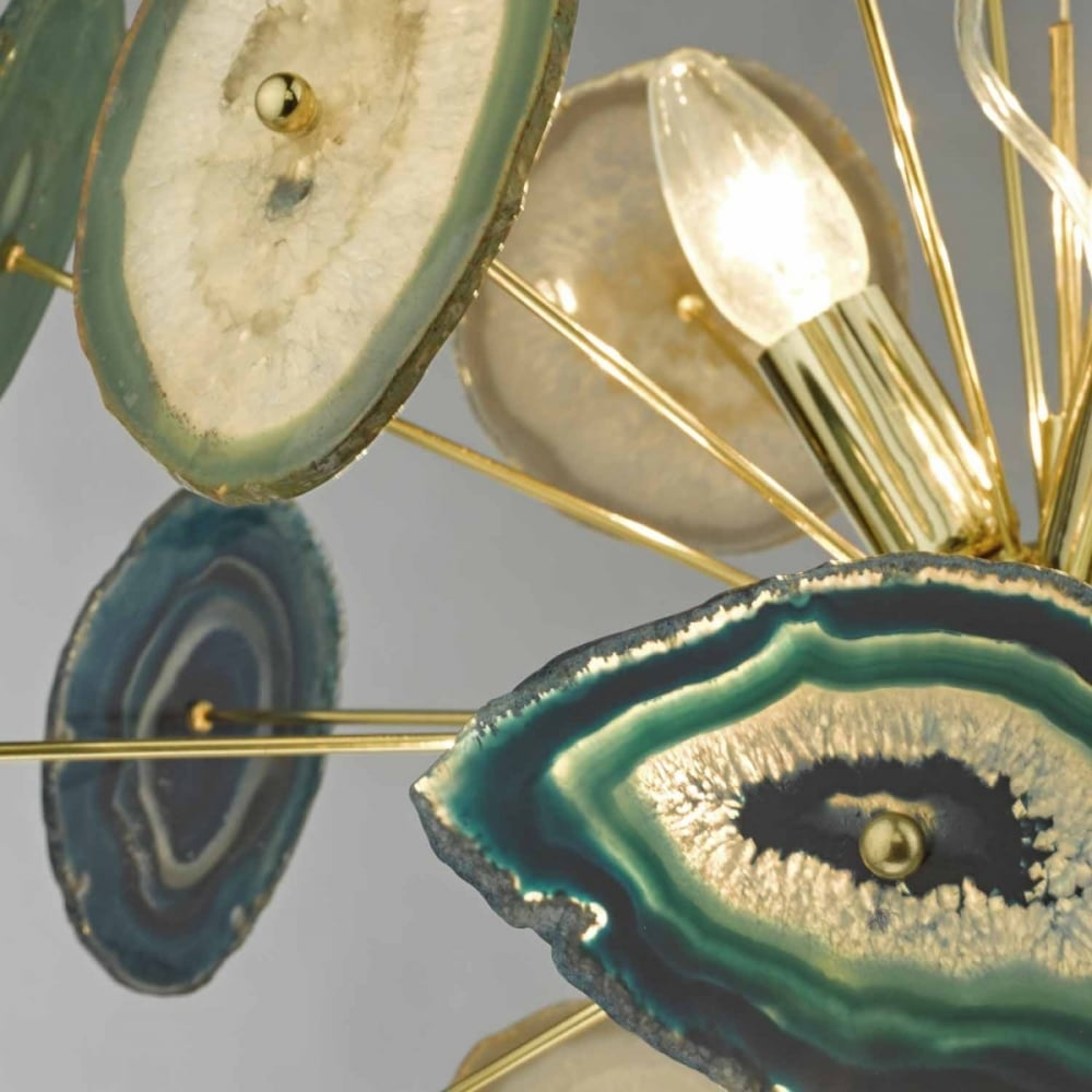 Achates Eye Catching Statement 9 Light Gold Agate