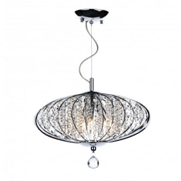 ADRIATIC - Chrome and Glass High Ceiling Pendant