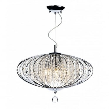 ADRIATIC - Large Chrome and Glass High Ceiling Pendant