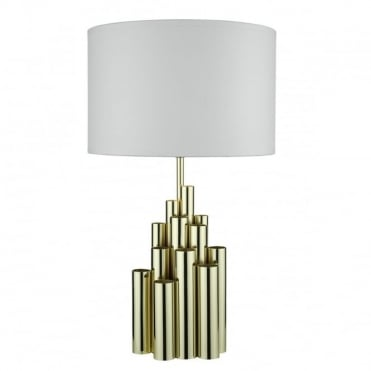 AEDAN - Table Lamp In Gold With White Cotton Shade