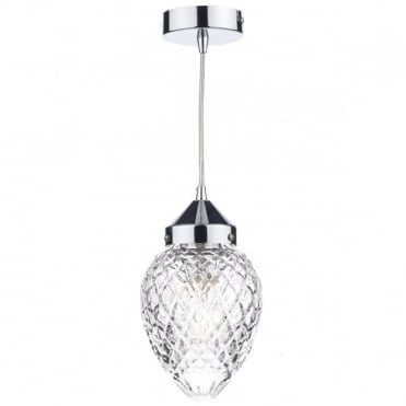 AGATHA - Polished Chrome And Decorative Glass Ceiling Pendant
