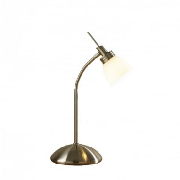AGEAN - Touch Table Lamp Antique Brass With Opal White Glass Shade