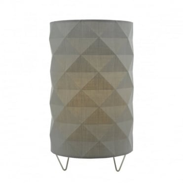 AISHA - Contemporary Faceted Table Lamp In Grey With Inline Rocker Switch
