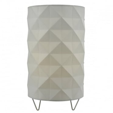 AISHA - Contemporary Faceted Table Lamp In White With Inline Rocker Switch