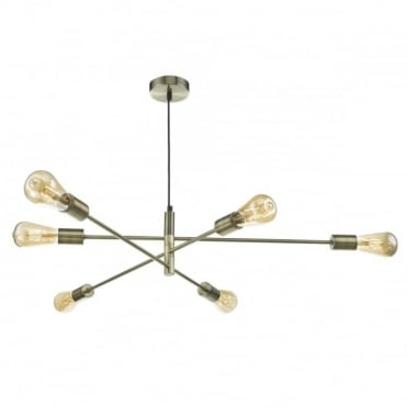 ALANA - 6 Light Ceiling Pendant Ant. Brass