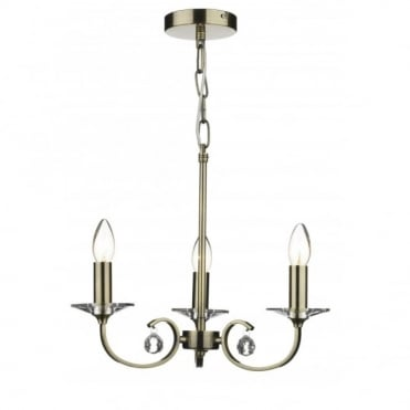 ALLEGRA - 3 Light Antique Brass Ceiling Pendant Light