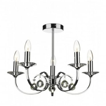 ALLEGRA - 5 Light Chrome And Glass Ceiling Pendant