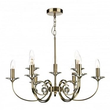 ALLEGRA - 9 Light Antique Brass Ceiling Pendant