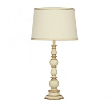 ALPINE - Traditional Distressed Cream And Gold Table Lamp With Shade
