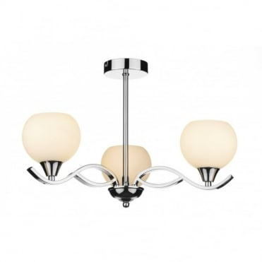 ARUBA - Modern Chrome Ceiling Light Opal Glass Shades