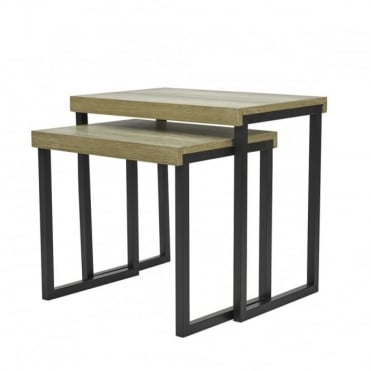 ASTON - Nest Of 2 Rectange Tables Oak Style Veneer Oak Wood Effect