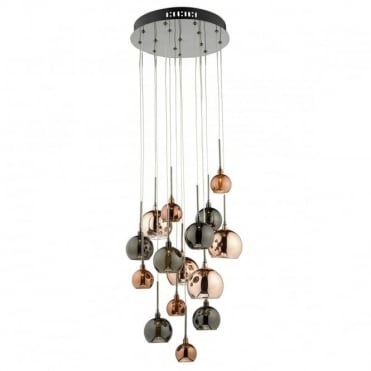 AURELIA - 15 Light Ceiling Pendant Copper Dark Copper And Bronze