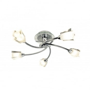 AUSTIN - Chrome Low Ceiling Light With 5 Bulbs