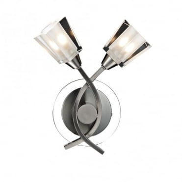 AUSTIN - Modern Twin Wall Light Satin Chrome and Glass
