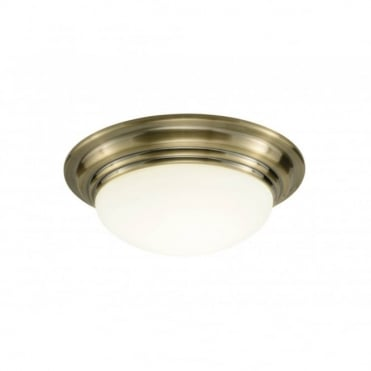 BARCLAY - Antique Brass Bathroom Ceiling Light Ip44