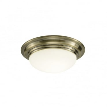 BARCLAY - Small Antique Brass Bathroom Ceiling Light