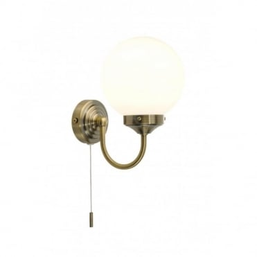 BARCLAY - Traditional Antique Brass Bathroom Wall Light