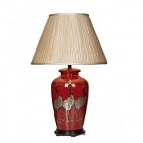 BERTHA - Red Ceramic Table Lamp Base With Birds