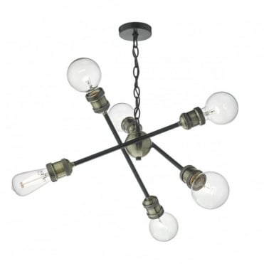 BRIGADE - 6lt Pendant in Black and Ant Brass