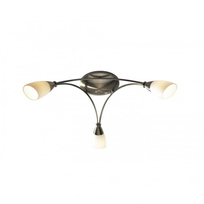 BUREAU - 3 Light Antique Brass Low Ceiling Light