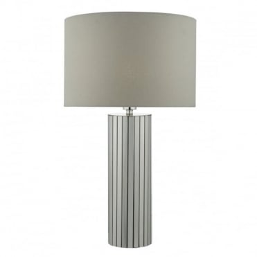 CASSANDRA - Modern Chrome And Grey Table Lamp