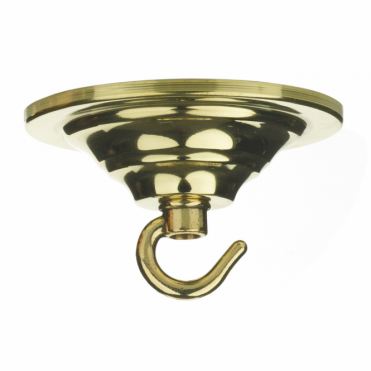 CEILING HOOK - Single Hook Ceiling Rose Plate Gold Polished Brass