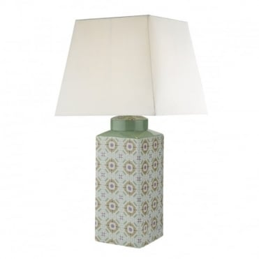 CELESTE - Table Lamp Green Mosaic Ceramic Base C/W White Shade