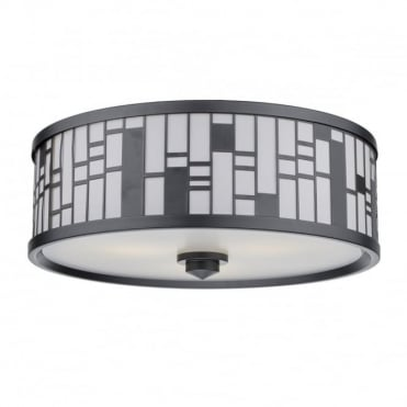 CEROS - 3 Light Flush Ceiling Pewter Fabric Shade