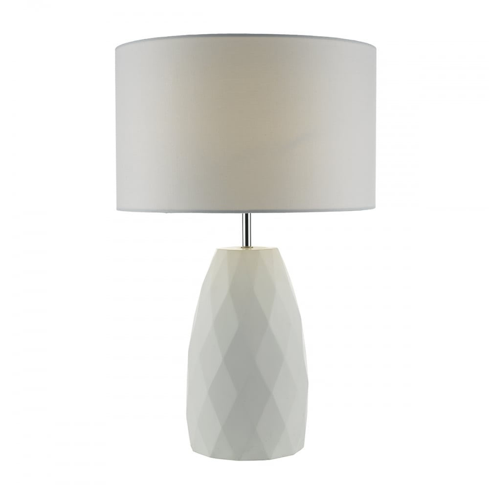 White geometric diamond base and shade lighting and lights uk ciara table lamp white complete with shade ceramic geotapseo Images