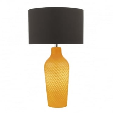 CIBANA - Dual Source Table Lamp In Yellow With Dark Brown Shade