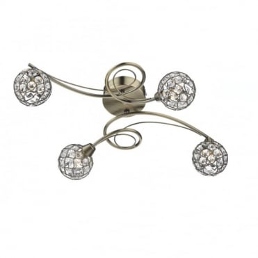 CIRCA - Antique Brass and Crystal Flush Ceiling Ceiling Light
