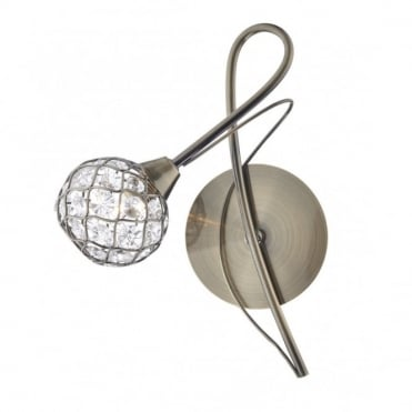 CIRCA - Antique Brass Wall Light With Crystal Globe Shade