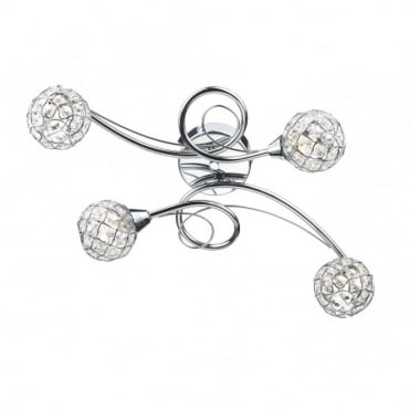 CIRCA - Polished Chrome and Crystal Flush Ceiling Ceiling Light