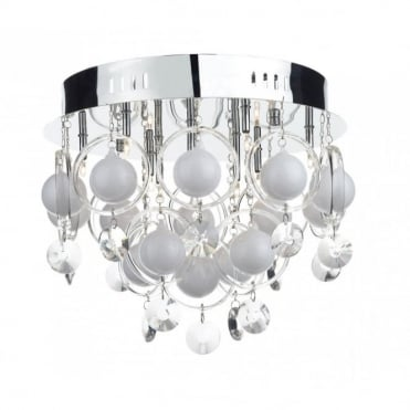 CLOUD - Circular Chrome And Crystal Light For Low Ceilings