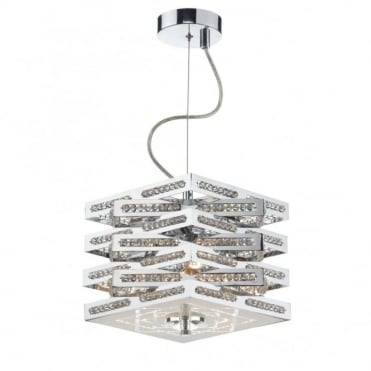 CUBE - 3 Light Polished Chrome Ceiling Pendant/Semi Flush Ceiling Ceiling Light