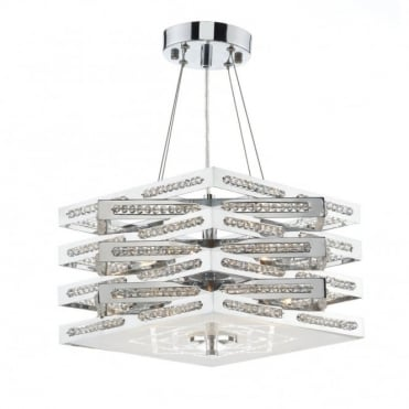 CUBE - 5 Light Polished Chrome Ceiling Pendant/Semi Flush Ceiling Ceiling Light
