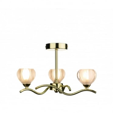 CYNTHIA - Brass Gold Ceiling Light With 3 Bulbs
