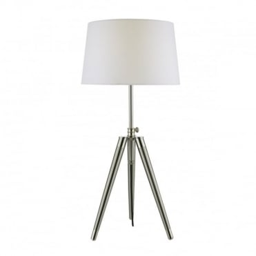 DACIA - Table Lamp Brushed Nickel Complete With Shade Satin Chrome