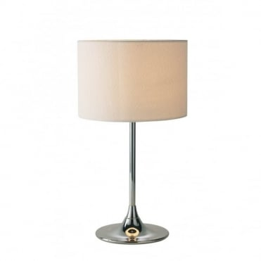 DELTA - Table Lamp Chrome Complete With Ivory Woven Shade