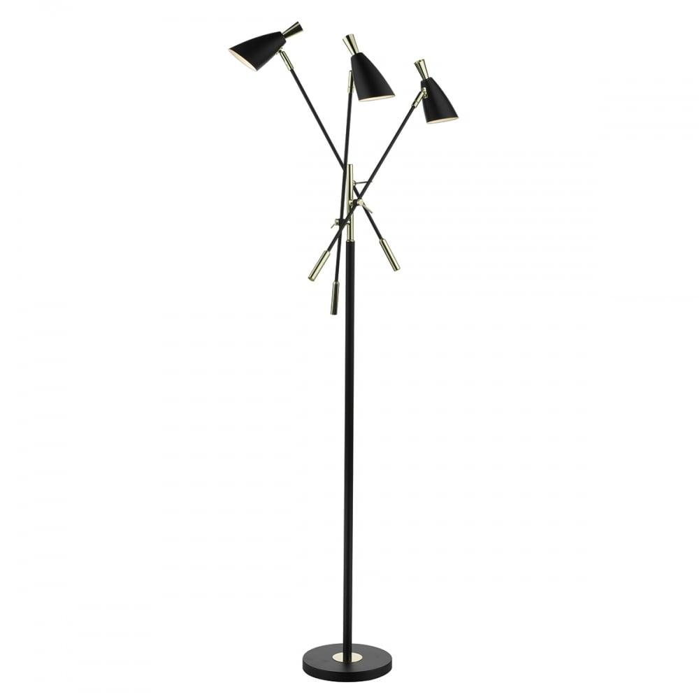 Contemporary matte black 3 light floor lamp lighting and lights uk diego 3 light floor lamp black gold black aloadofball Images