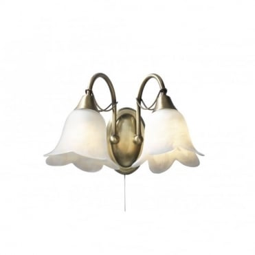 DOUBLET - Antique Brass 2 Light Wall Light Switched