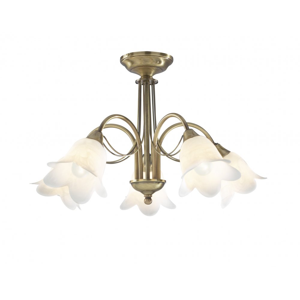 Traditional 5 arm semi flush ceiling light in antique brass doublet antique brass 5 light semi flush ceiling light mozeypictures Images