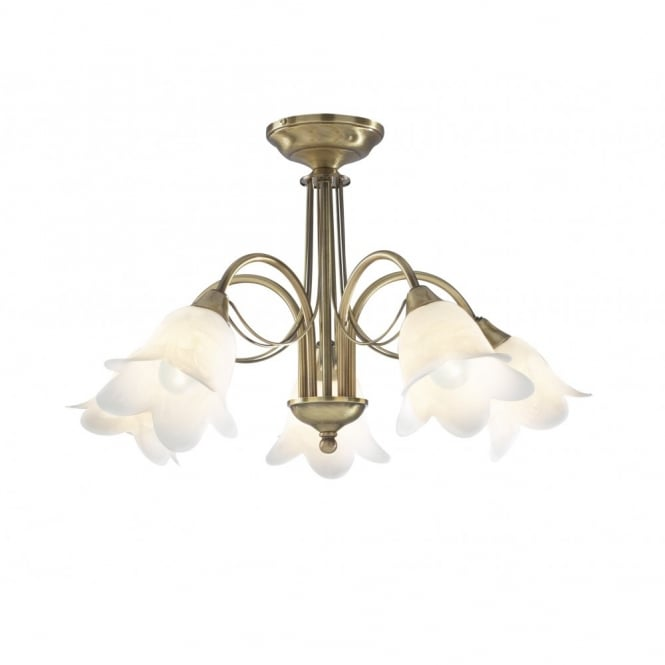 DOUBLET - Antique Brass 5 Light Semi-Flush Ceiling Light