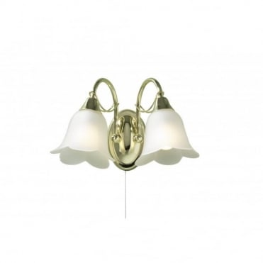 DOUBLET - Brass 2 Light Wall Light Switched